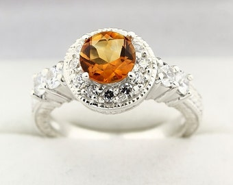 Yellow Citrine Solid 14K White Gold Diamond Ring-Antique
