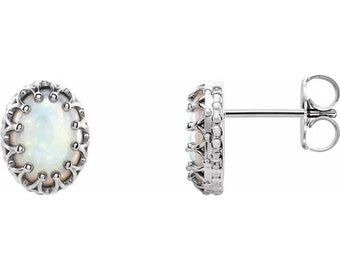 Ready to ship-14K White / Yellow  8x6 mm Oval Genuine Australian White Opal  Cabochon Crown  Stud Earrings
