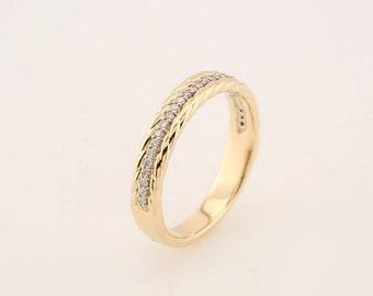 Diamond Rope  Band 14K White / Yellow / Rose  Gold  Natural Round Diamond Wedding Ring Aniversary Ring ST234130