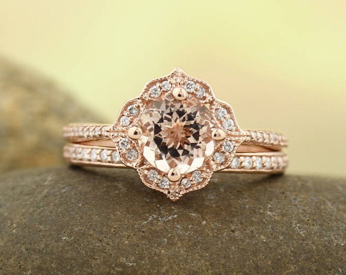 Featured listing image: AAA Morganite Engagement Ring Set  Diamond Wedding Ring Set Vintage Floral style In 14k Rose Gold Gem1224