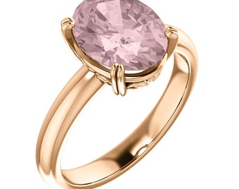 Natural AAA 10x8mm Oval  Morganite  Solid 14K Rose  Gold  Solitaire Engagement  Ring Set ST82828  @@@Special for you@@@