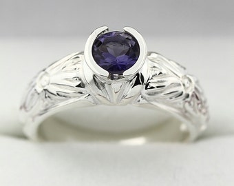Natural 5mm Bluish Violet IOLITE Solid 14K White Gold Antique  Ring