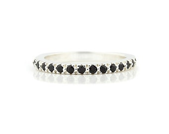 AAA Natural 1/4 ct  Black Diamond Wedding Band Ring 14k White Gold-Specail