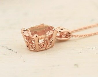 "Natural AAA 10x8mm Oval  Pink  Morganite Vintage Style Pendant 14K Rose Gold with 18"" Cable chain"