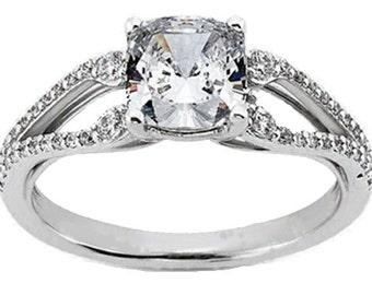 3/4 carat 5.5mm Cushion Cut Forever One (GHI) Moissanite Diamond Engagement Ring ENR0410