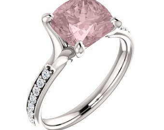 Natural AAA 8mm Antique Cushion Cut Morganite  Solid 14K White Gold Diamond Engagement Ring Set - ST233555