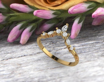 Unique Curved wedding band 14K gold Marquise Diamond/Moissanite wedding ring stacking matching band Bridal set Promise Gift for women