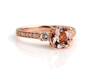 Fancy Color  Pink Morganite 8mm Round  14K Rose Gold Diamond engagement  Ring - Gem838