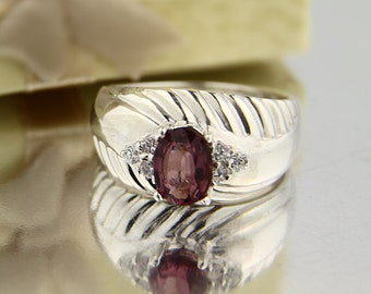 Natural Pinkish purple Spinel Solid 14K White Gold Diamond Ring