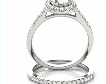 1ct  6.5mm  Forever Brilliant Moissanite Solid 14K White Gold  Halo  Engagement  Ring Set  - OV61456