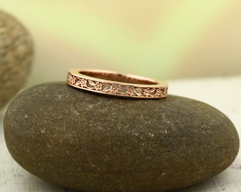 Forget-me-not Sculptural Eternity Flower Design Wedding Band in 14k Rose Gold ENS4302-1109 Available in Yellow white gold