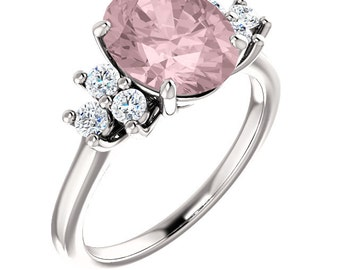 Natural AAA 10x8mm Oval  Morganite  Solid 14K white Gold Diamond Engagement Ring Set-ST82715