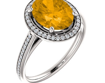 Natural AAA 10x8mm Oval  Citrine Solid 14K White Gold Diamond halo Engagement Ring Set-ST82790