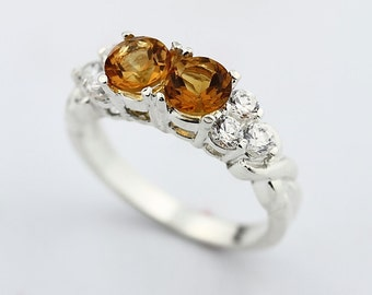 5mm Natural Yellow Citrine Solid 14K White Gold Diamond Wedding Band  Ring