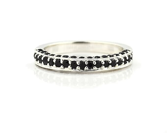AAA Natural Black Diamond Wedding Band Ring 14k White Gold
