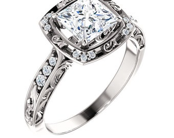 1.25  ct Forever One (GHI) Moissanite Solid 14K White Gold Diamond Sculptural-Inspired Engagement Ring - ST232092