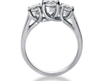 1 Ct 3 Stones Brilliant Cut Moissanite Solid 14K White Gold Trellis Style Engagement Ring ENR203