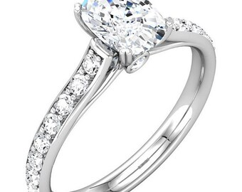 7x5mm Oval Forever One (GHI) Moissanite Solid 14K White Gold Diamond Engagement  Ring   - ST232999