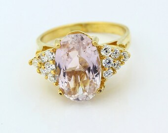 Natural SPARKLING Light Peach Pink KUNZITE Solid 14K Yellow Gold Diamond Ring