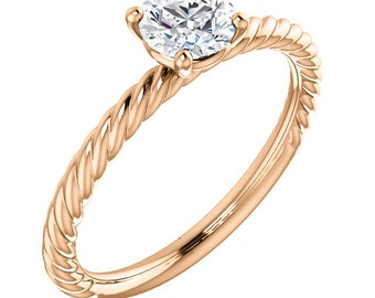 1/2ct GIA Certified Diamond Twisted Rope Solitaire Engagement Ring In 14k Rose  Gold ST82737