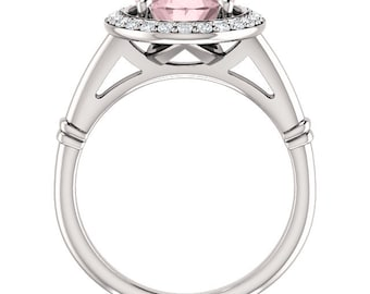 Natural AAA 10x8mm Oval  Morganite  Solid 14K White Gold Diamond halo Engagement Ring Set-ST233288