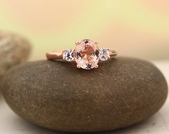 Morganite white sapphire  Solid 14K Rose Gold  engagement Ring Gem1389