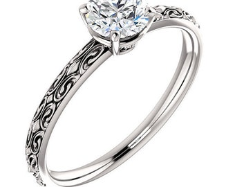 1/2ct  EGL Certified Diamond F Color  SI2 Clarity Solitaire  Engagement Ring In 14k White Gold ST82729