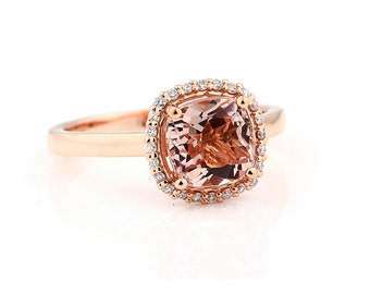 7mm Antique Cushion cut  1.55 ct  Natural  Morganite Solid 14K Rose Gold Diamond Engagement Ring - Gem843