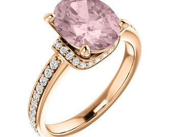 Natural AAA 10x8mm Oval  Morganite  Solid 14K Rose  Gold Diamond Engagement Ring Set-ST233615