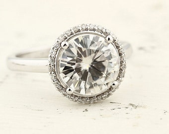 2.50ct  9mm  Forever One (GHI) Moissanite Solid 14K White Gold  Halo-Styled  Engagement  Ring Gem966
