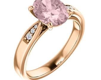 Natural AAA 9x7mm Oval  Morganite  Solid 14K Rose Gold Diamond Engagement Ring Set-ST82812