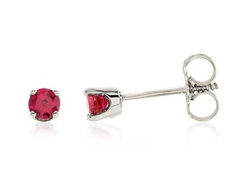 Ready to ship- 14k White/Yellow Gold Genuine Ruby Stud Earrings For Girls.  July Birthstone-- Screw Back Earrings