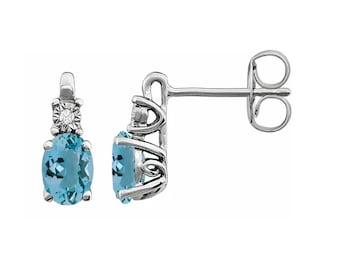 14K White Natural Aquamarine &  Diamond Accented Earrings