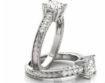 Certified Square Forever One Moissanite 14K White Gold Diamond ANTIQUE style Engagement Set OV93967 (Other metals & stone options available)