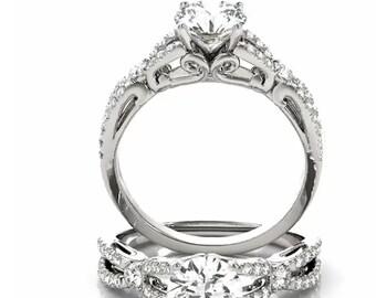 1ct  6.5mm  Forever Brilliant Moissanite Solid 14K White Gold  Engagement  Ring Set  - OV61048