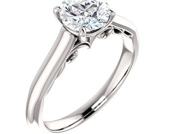 Certified Forever One Moissanite Engagement Ring ,Round Brilliant Cut Diamond Simulant Wedding Ring In Solid 14K White Gold