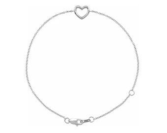 """14K White  Gold Heart 6 1/2-7 1/2"""" Bracelet"""