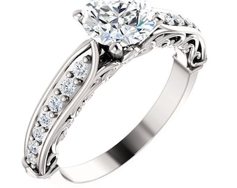 1 ct Forever One (GHI) Moissanite Solid 14K White Gold Diamond Engagement Ring - ST233176R