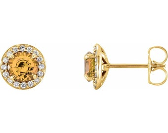 Genuine Citrine & Diamond Halo Earrings In 14K White/Yellow/Rose Gold