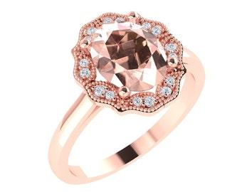 AAA Morganite Engagement Ring Diamond Wedding Ring Vintage Ring In 14k Rose Gold  Gem1477
