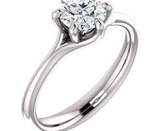 6mm  0.75 Ct Round Forever One (GHI) Moissanite Solid 14K White Gold  Diamond  Engagement Ring-ST011007