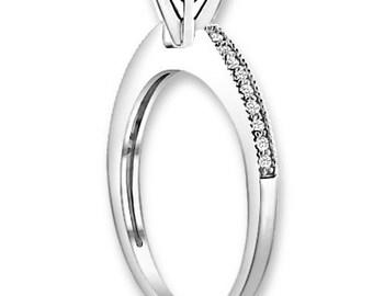 Natural  AAA 1.25 ct  Black & White  Diamond  Engagement Ring In 14K White / Yellow / Rose Gold ENS4135