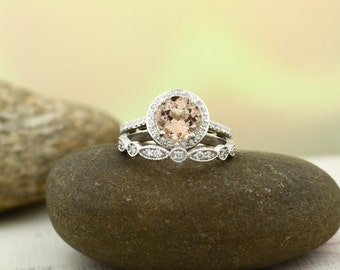Bridal Set Floral Design AAA Morganite Wedding Set 14K White  Ring Set With Artdeco Band Gem1171 (Rose Gold Available)