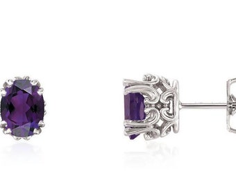 Amethyst Scroll Stud Earrings In 14K Yellow Gold, White Gold or Rose Gold.February Birthstone