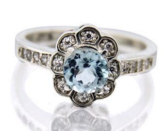 Gorgeous 6mm Sky blue  Topaz 14K White Gold Diamond Ring