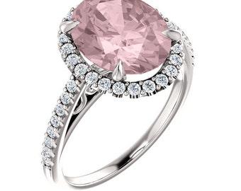 Natural Morganite Ring Set, Diamond Halo Morganite Engagement Ring Band Set, White gold, 11x9mm  Oval gemstone - ST233953  On Promotion