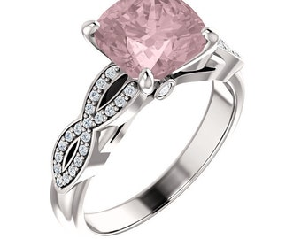 Natural AAA 8mm Antique Cushion Morganite  Solid 14K White Gold Diamond Infinity Twist  Engagement Ring Set-ST233196