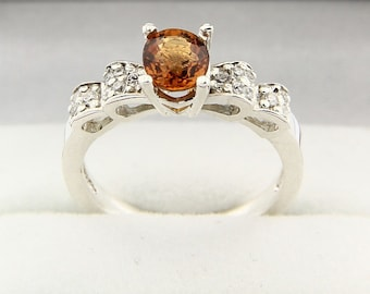 IF Natural Spessartite Garnet  Solid 14K White Gold Diamond Ring