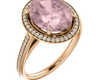 Natural Morganite Ring Set, Diamond Halo Morganite Engagement Ring Band Set, Roes gold, 11x9mm Oval gemstone - ST82790