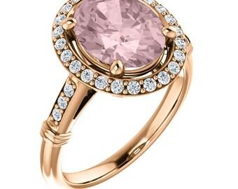 Natural AAA 10x8mm Oval Cut Morganite  Solid 14K Rose Gold Diamond Halo Engagement Ring Set ,  Bridal Ring Set  ST82730